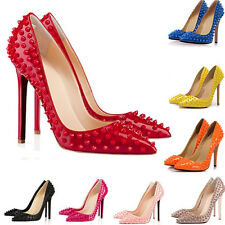 WOMENS SEXY HIGH HEELS POINTED CORSET STYLE WORK PUMPS COURT STUDS RIVETS SHOES