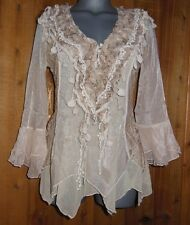 NWT PRETTY ANGEL SHIRT blouse RUFFLES & LACE MD LG XL vintage BOLERO gypsy CARM