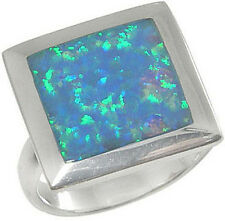 Sterling Silver Ring Square Blue Lab Created Opal Inlay 3033/OP