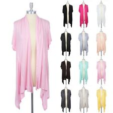 [Plus Size] Short Sleeve Solid Plain Open Draped Cotton Long Cardigan 1XL-3XL