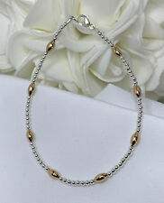 Silver and 14k Yellow Gold Bracelet Ankle Bracelet (2950) *Plus Sizes Available*