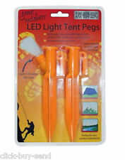 LED LIGHT TENT PEGS FOLDABLE LED TENT PEG CAMPING GARDEN CHOOSE 2 4 OR 6 NEW