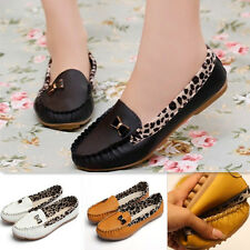 New Comfy Women Leather Leopard Slip On Round Toe Loafer Moccasin Flat Shoes