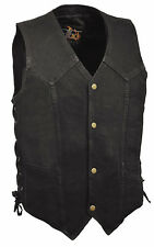 Mens Classic Front Snap Black Denim Vest Side Laces