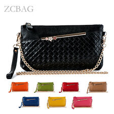 Fashion Weave Genuine Leather Women Wallet Clutch Lady Shoulder Bag Hoder Purse