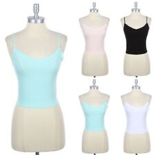 Lace Trim Camisole Adjustable Spaghetti Strap Tank Top Solid Body Cotton S M L