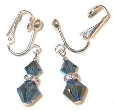 MONTANA Navy Blue Crystal Earrings Sterling Silver Dangle Swarovski Elements