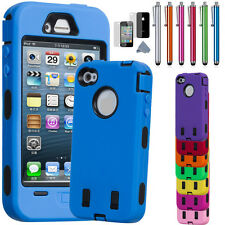 For iPhone 4 - 4S Black Rugged Rubber Matte Hard Case Cover w/ Screen Protect