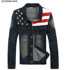Mens pop Slim type national flag washed casual motocycle denim jackets outwear