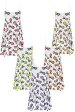 NEW WOMENS PINEAPPLE FRUIT PRINT CAMISOLE STRAP TOP SWING MINI DRESS SIZE SM ML