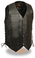 Mens 10 Pocket Black Leather Biker Vest Side Laces & Gun Pockets
