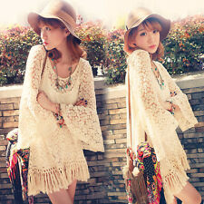 Vintage Hippie Boho Bell Sleeves Gypsy Festival Fringe Women Lace Long Top White