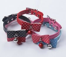 PU Leather Collar with Bowknot & Bell for Puppy Dog Cat Size XS to M PC05