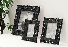 """Black Carved High Gloss Photo Picture Frame in 3 Sizes 8 x 10 