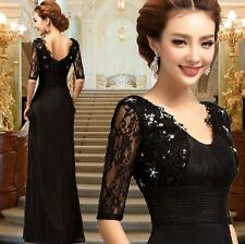 New Long Formal Wedding Prom Party Bridesmaid Evening Ball Gown Dress Black L150