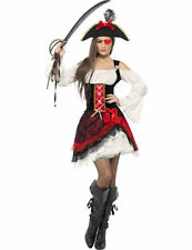 Ladies Glamorous Lady Pirate Wench Caribbean Fancy Dress Outfit Costume