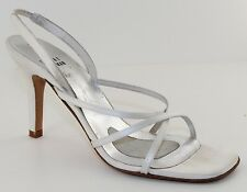 Stuart Weitzman Quadro White Open Toe Strappy Womens Evening Shoes Heels Size 6
