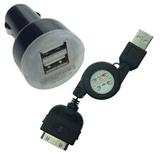 NEW CAR DC CHARGER WITH APPLE iPHONE 4 4S USB DATA CABLE CORD SYNC POWER ADAPTER