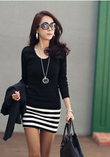 Lady Womens Black Long Sleeve Round Neck Stripe Casual Mini Dress