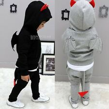 Kids Unisex 2-Pieces Clothes Wing Cosplay Cow Hooded Clothing Sets 1-6Y FT908