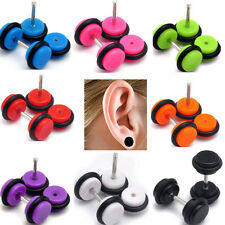 2pcs Acrylic Fake Ear Barbell Cheater Expanders Plug Tunnel Stretcher Kit Steel