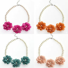 1Pc Fashion Europe Style Pearl Beaded Chain & Acrylic Flower Choker Necklace