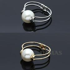 Womens Lady Alloy Large Faux Pearl Bangle Bracelet Fashion New