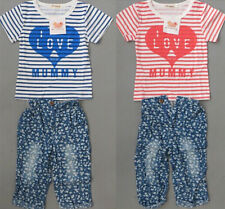 Love Mom/Papa Baby Girls Summer Clothing T shirt+Pants Suit Outfit Set 6M-5Y