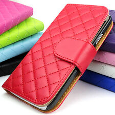 For Samsung Galaxy S4 S IV i9500 Grid Wallet Flip PU Leather Case Pouch W/Strap
