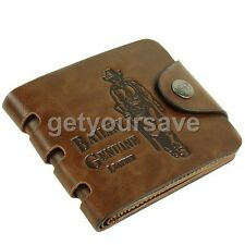 Mens Leather Wallet Pockets Card Clutch Cente Bifold Purse Money Clip Cad Holder