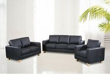 SOFA SUITE 3 + 2 + 1 IN BLACK BROWN OR CREAM FAUX LEATHER NEW!!!! FREE P & P!!!!
