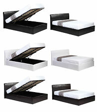 Ottoman gas Lift Up Storage 4ft6 Double Faux Leather Bed in Black or Brown