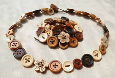 Handmade Delicate WOODEN Button Necklace OR Bracelet OR Anklet ...Flowers Stars