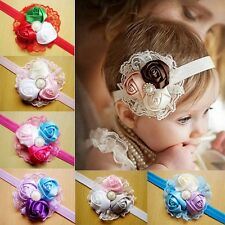 CHIC Baby Vintage Lace Flower Hairband - Soft Elastic Headband Hair Accessories