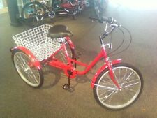 """NEW 24"""" ADULT TRICYCLE 3-WHEELER 6-SPEED RED!"""
