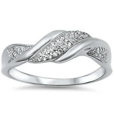 Modern Unique Cubic Zirconia Wedding Fashion 925 Sterling Silver Ring Sizes 5-10