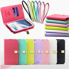 7 Color Ailun Flip Card Slot Magnetic Leather Wallet Case Cover For Phone+Strap