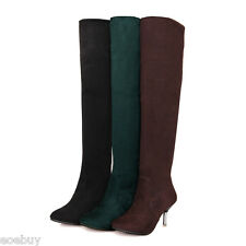 Women's High Heel Shoes Suede Fabric Fashion Over Knee Boots US Size 2~10.5 O998