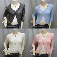 Silvery Thread Eyelet Crochet Knit Cardigan Shrug Bolero Topper S~M