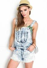 Machine Jeans Destroyed Ripped Shreded Distressed Denim Overall Romper Women