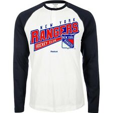 "New York Rangers REEBOK Long Sleeve Raglan ""Hockey Sweep"" T Shirt Men's (S-2XL)"