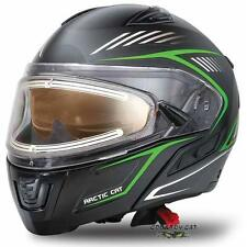 Arctic Cat Adult Modular Snowmobile Helmet w/ Electric Shield - Green - 5252-53_