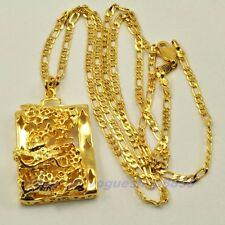"""REAL 18K GOLD PLATED 1.57"""" DRAGON PENDANT 24"""" NECKLACE SOLID GP,1-3pcs Wholesale"""