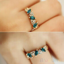 Vogue Women Vintage Jewelry Emerald Rhinestone Golden Silver Crystal Ring Size 7