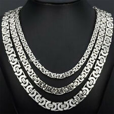 6/8/11mm Silver Tone Flat Byzantine Box Stainless Steel Necklace Boys Mens Chain