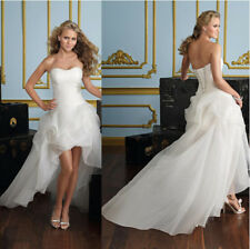 sexy womens short front long tailing back skill blend wedding dress plus szie