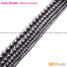 """Natural Gem Magnetic Hematite Stone Jewelry Making Beads 15"""" Round Beads in Lots"""