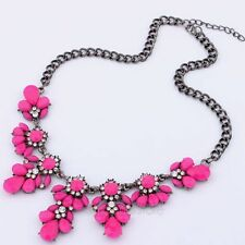 Charm Crystal Flower Choker Collar Chunky Bib Pendant Chain Statement Necklace