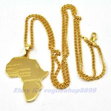 """REAL 18K GOLD PLATED 1.73"""" AFRICA MAP PENDANT 23.6"""" NECKLACE GP,1-3pcs Wholesale"""