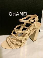 CHANEL Beige Pearl Embellished Camellia Strappy Leather Heel Sandal Shoes $1950